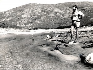 After: Dr Kas Hamman of CapeNature surveys the damage done by bulldozing Breakfast Pool circa April 1988. Photo by Ed Herbst